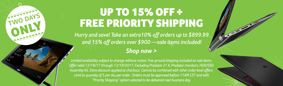 2 days only! Up to 15% off + free Priority shipping. Hurry and save! Take an extra10% off orders up to $899.99 and 15% off orders over $900 —sale items included!  Limited availability subject to change without notice. Free ground shipping included on sale