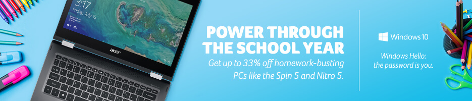 Power through the school year with up to 33% off homework-busting PCs like Spin 5 and Nitro 5.