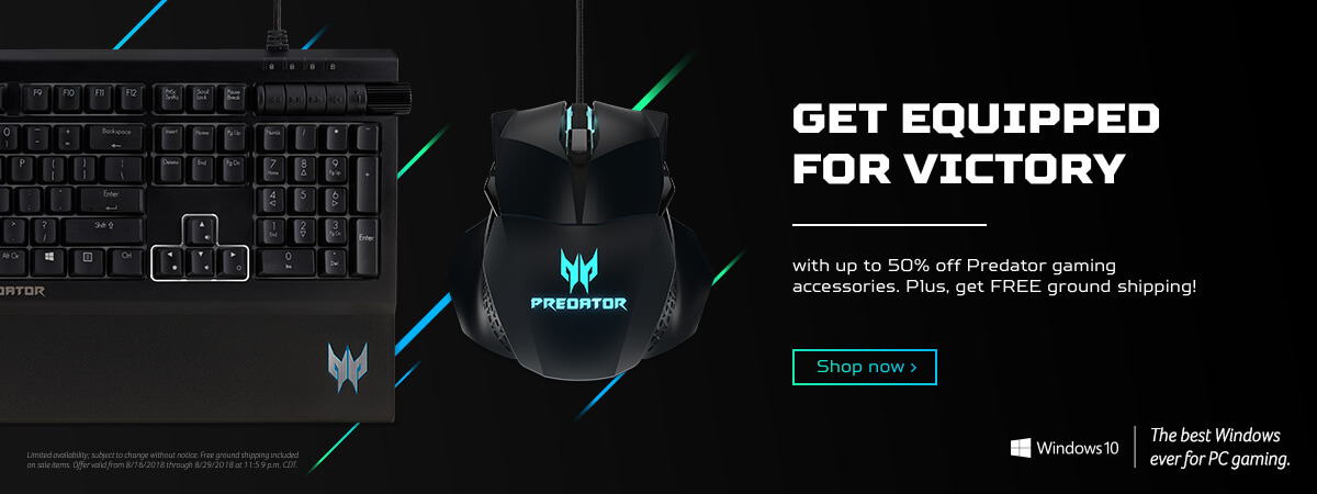 Get equipped for victory with up to 50% off Predator gaming accessories.
