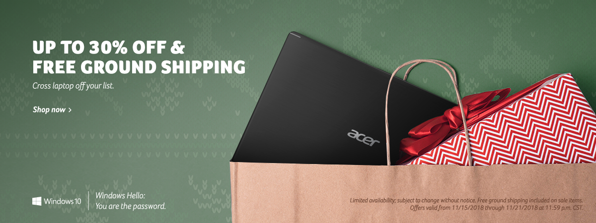 Get up to 30% off Acer laptops plus free ground shipping