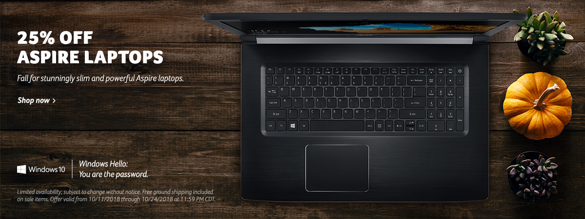 Save up to 25% off Aspire Series Laptops