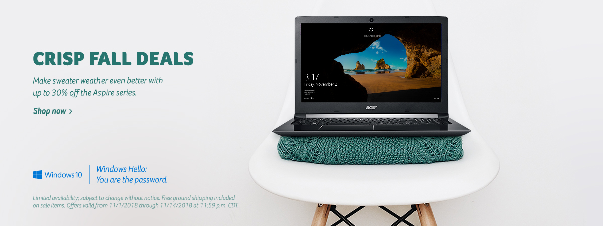 Save up to 30% off Aspire laptops