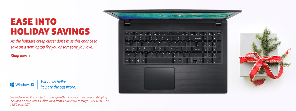 Save this holiday season on all Acer laptops.