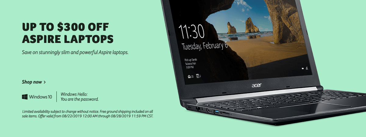 Save up to $300 on Aspire Laptops