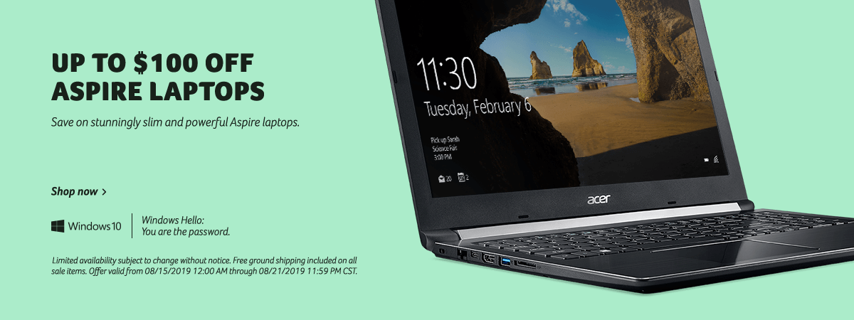 Save up to $100 on Aspire Laptops