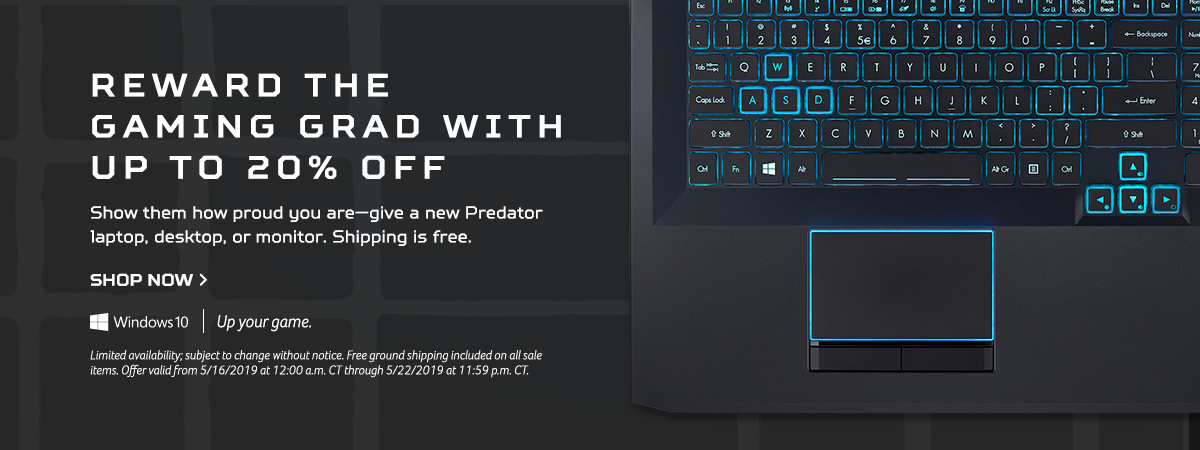Reward the Gaming Grad with up to 20% off Predator Laptops, Desktops and Monitors