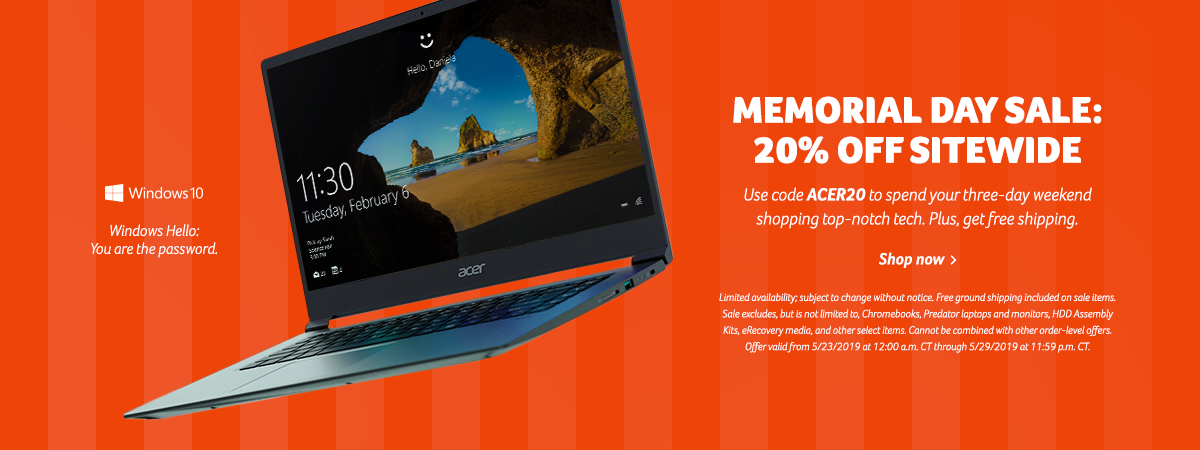 Save 20% off the Acer Store using promo code ACER20