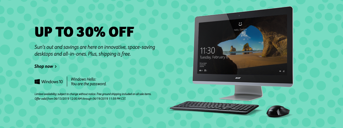 Save up to 30% on Acer desktops and All-in-Ones