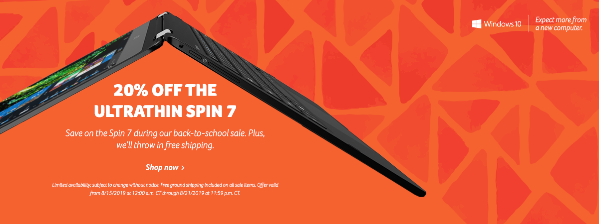 Save 20% on the Spin 7 Laptop