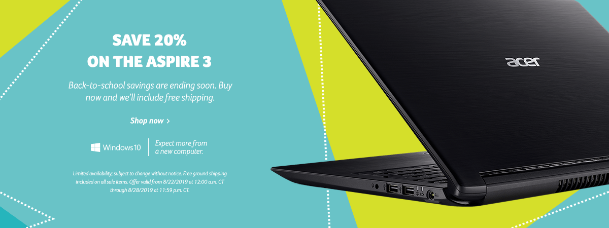 Get 20% off the Aspire 3 Laptop
