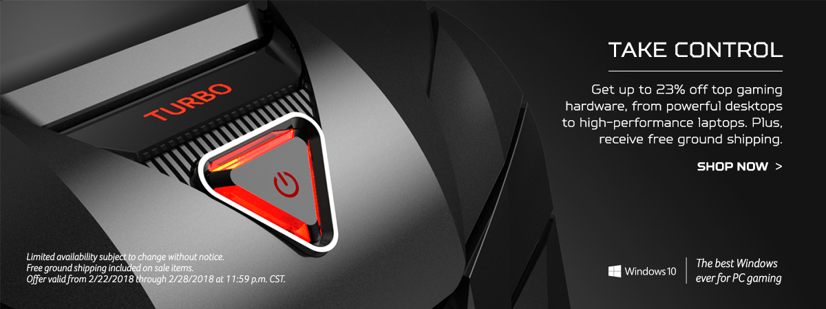 Take Control - get up to 23% off top gaming hardware, from powerful desktops to high-performance laptops. Plus receive free ground shipping. Shop now.