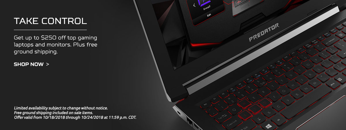 Get up to $250 off top Acer gaming laptops and monitors. Plus free ground shipping.