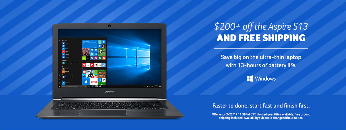 Save over two hundred dollars right now on the Aspire S13 Ultra-thin laptop. Click to view specs.