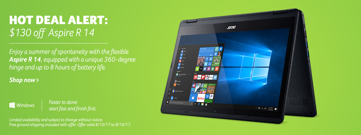 Save now on the convertible Aspire R14.  Click to view specs.