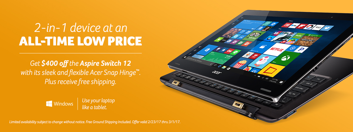 Two-in-one device at an all-time low price. Save four hundred on the Aspire Switch this week only. Click to view specs.