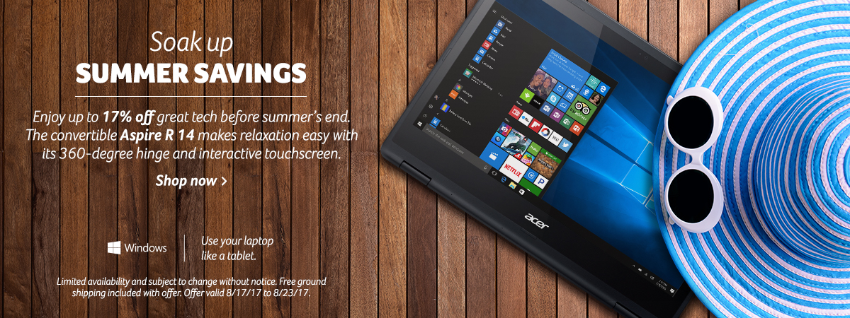 Soak up summer savings. Save now on the convertible Aspire R with the latest processor and touch screen. Shop now.