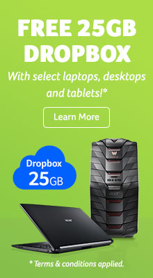 Free 25GB Dropbox - with select laptops, desktops and tablets! Learn more. *Terms & conditions applied.