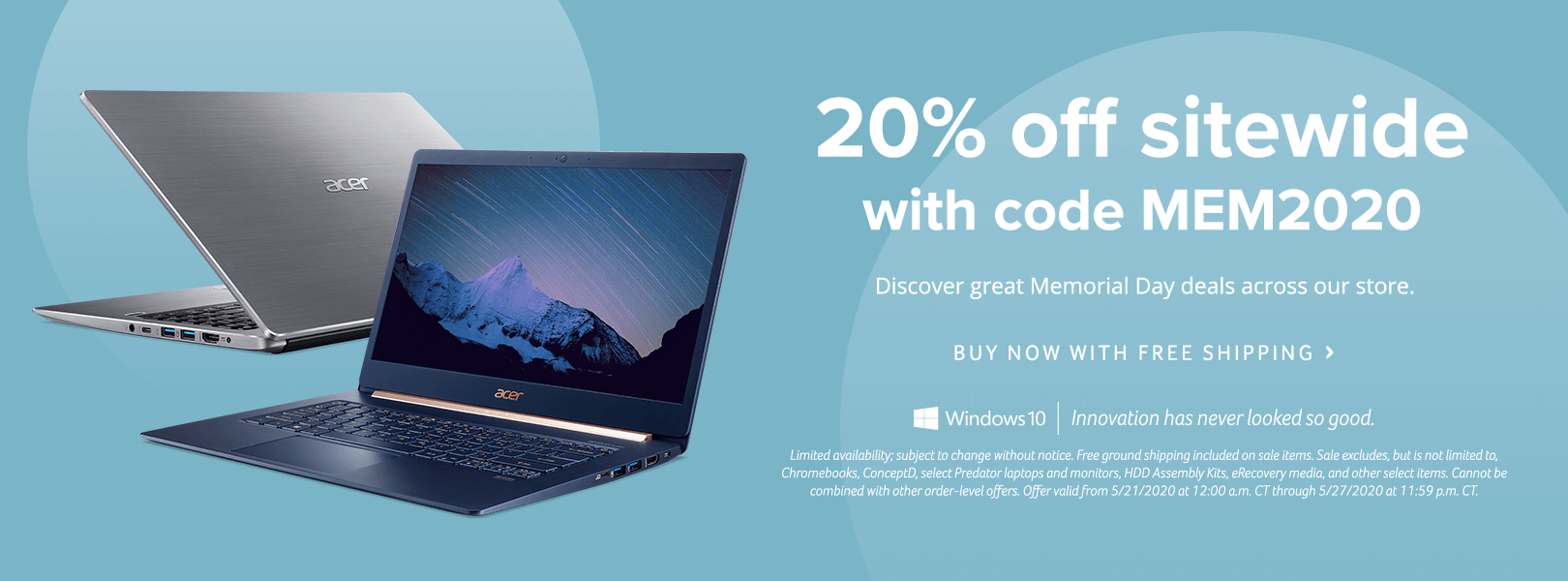 Save 20% Sitewide during the Acer Memorial Day Sale with promo code MEM2020.