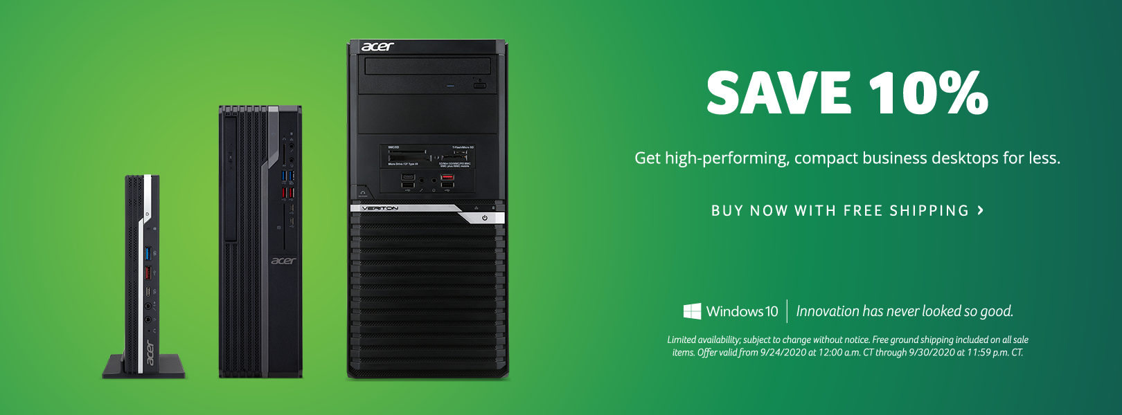 Save 10% on Acer Commercial Desktops
