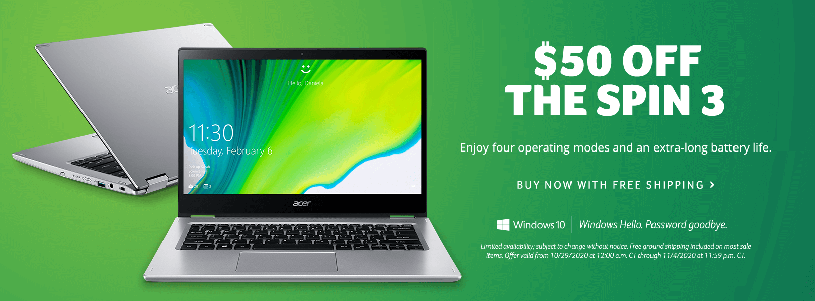 Save $50 on the Spin 3 Laptop