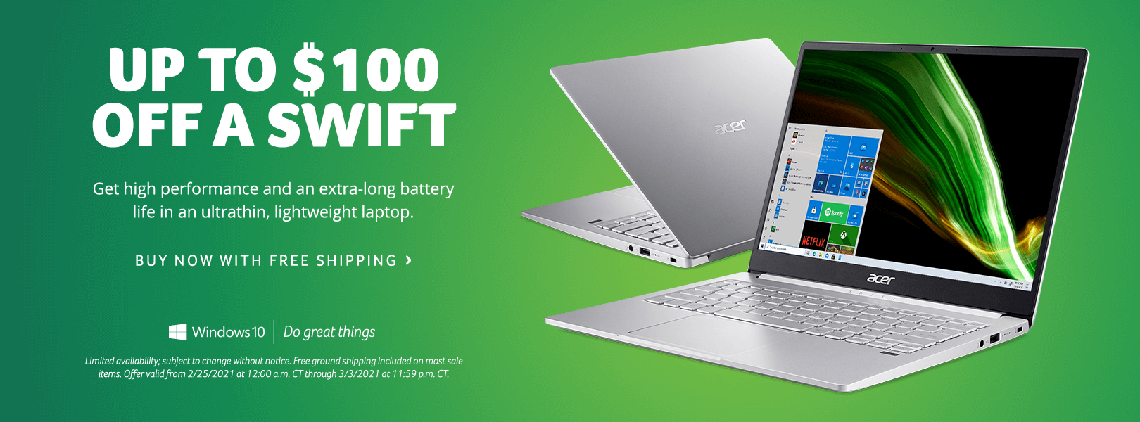 Save up to $100 on Swift Laptops