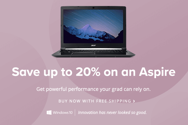 Save up to 20% on an Aspire Laptop