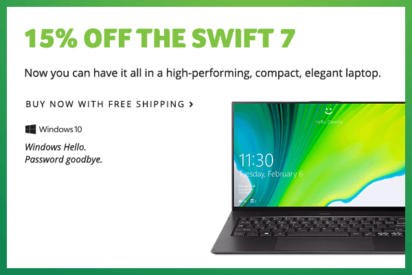 Save 15% on the Swift 7 Laptop