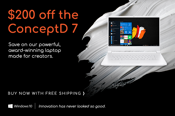 Save $200 on the ConceptD 7 Laptop