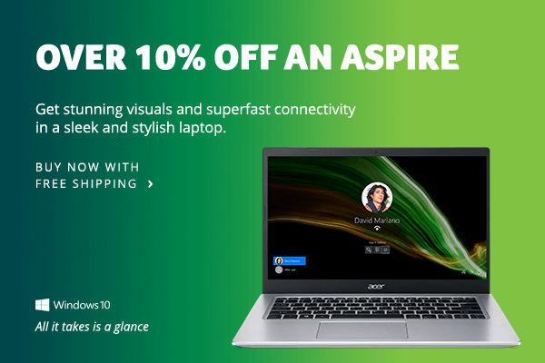 Save over 10% on an Aspire Laptop
