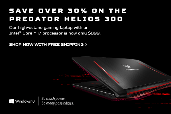 Save over 30% and get the Predator Helios 300 Gaming Laptop for only $899