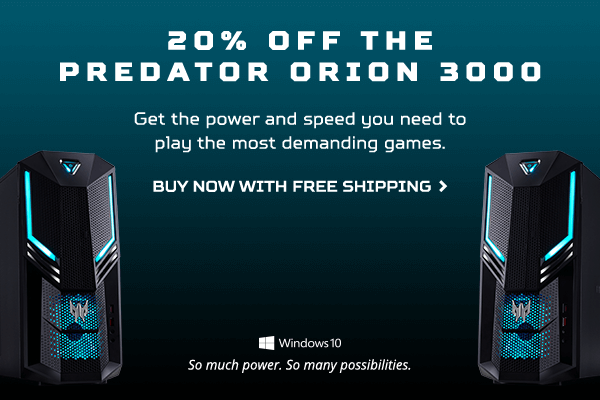 Save 20% on the Predator Orion 3000 Gaming Desktop