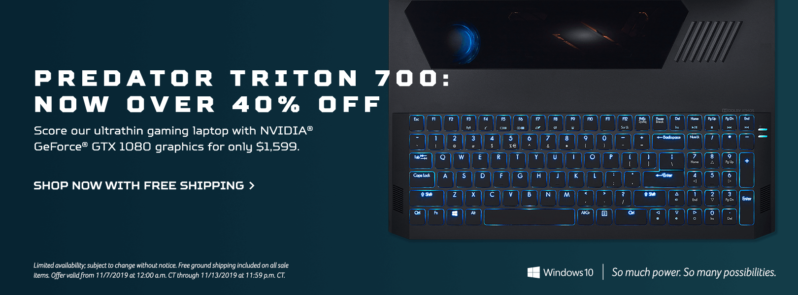 Save over 40% and get the Predator Triton 700 Gaming Laptop for only $1,599