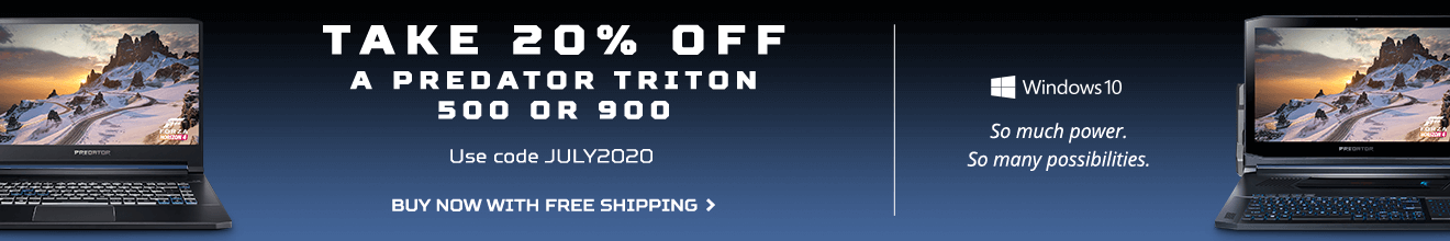 Save 20% on the Predator Triton 500 or 900 with promo code JULY2020.