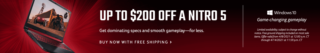 Save up to $200 on a Nitro 5 Gaming Laptop
