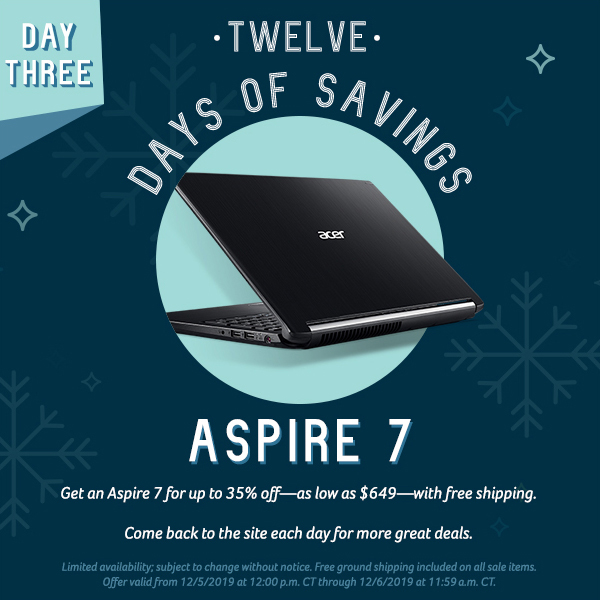 On the second day of savings, get the Iconia One 7 Tablet and the Chromebook 11