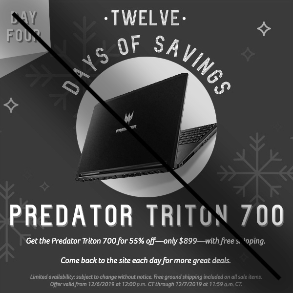 On the fourth day of savings, get 55% off the Predator Triton 700